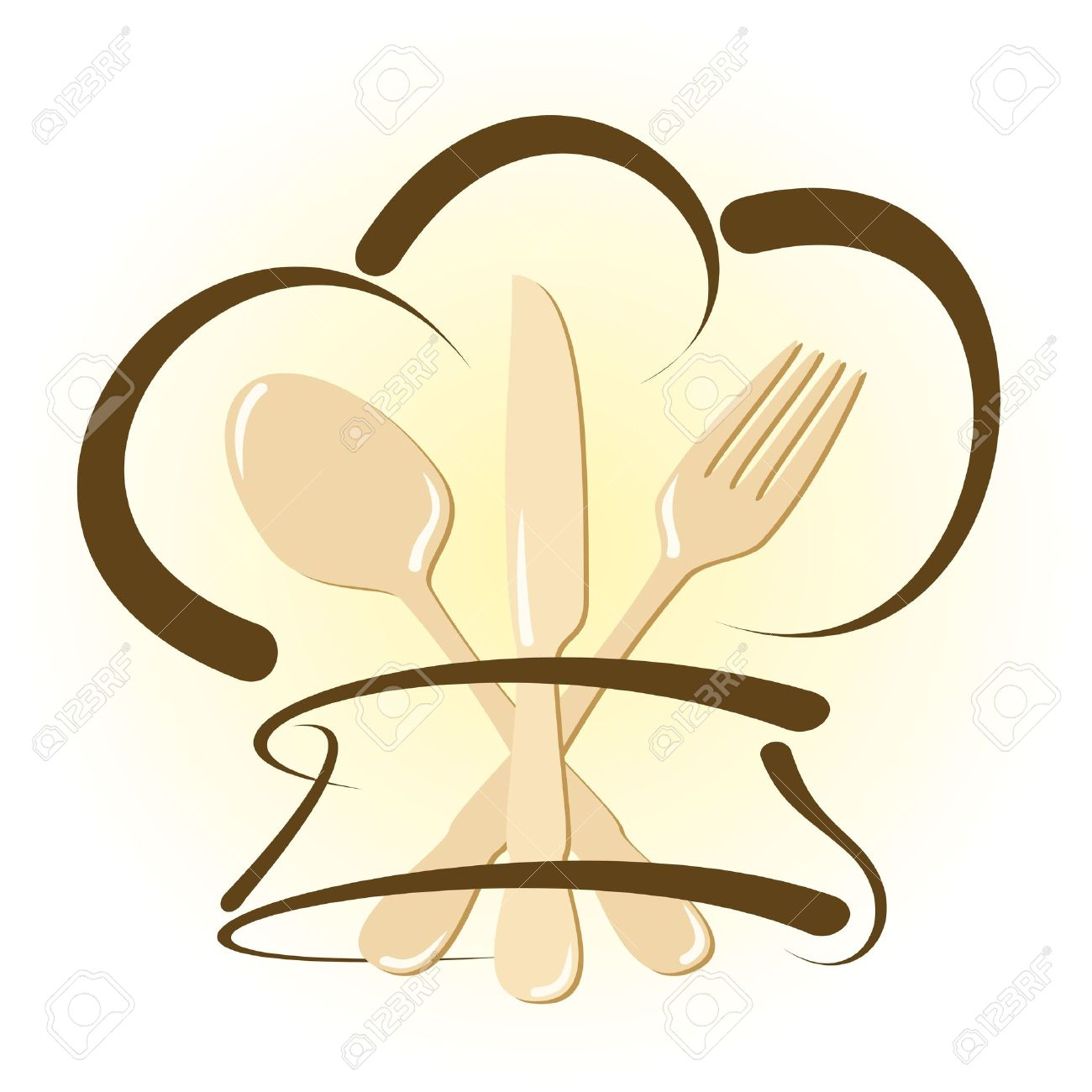 Simple restaurant icon with cutlery and chef hat Stock Vector - 13376177