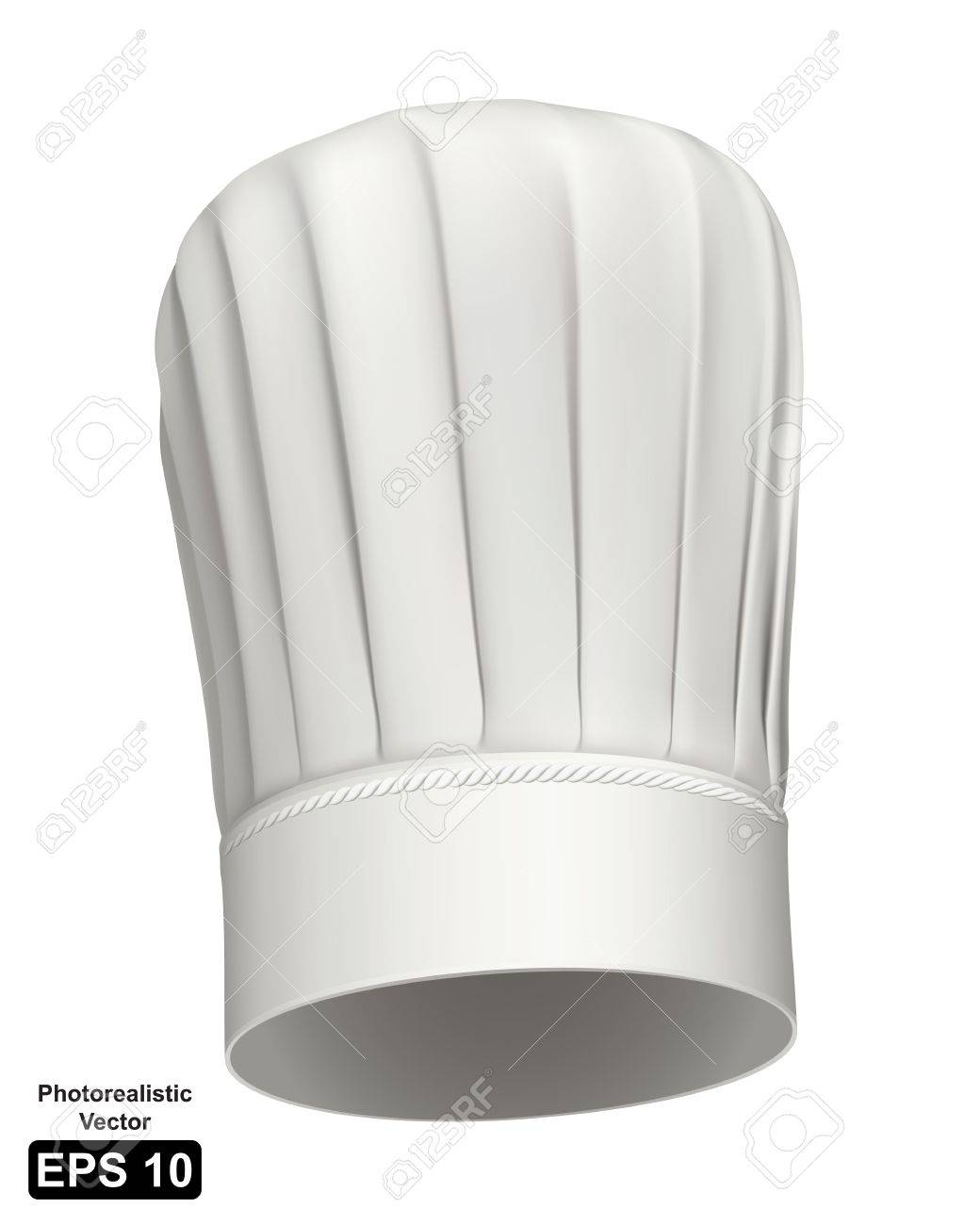 Photorealistic of a white tall chef hat on white background Stock Vector - 13976967