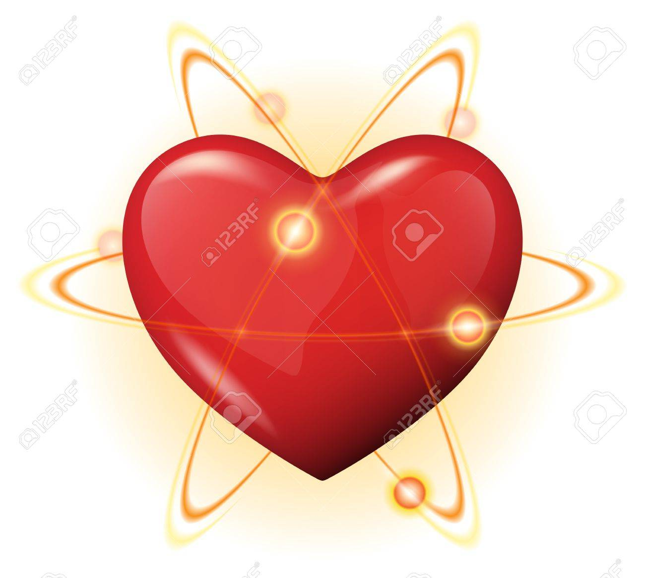 illustration of a 3d red heart protection with atoms - protected powerful heart concept Stock Vector - 16048911