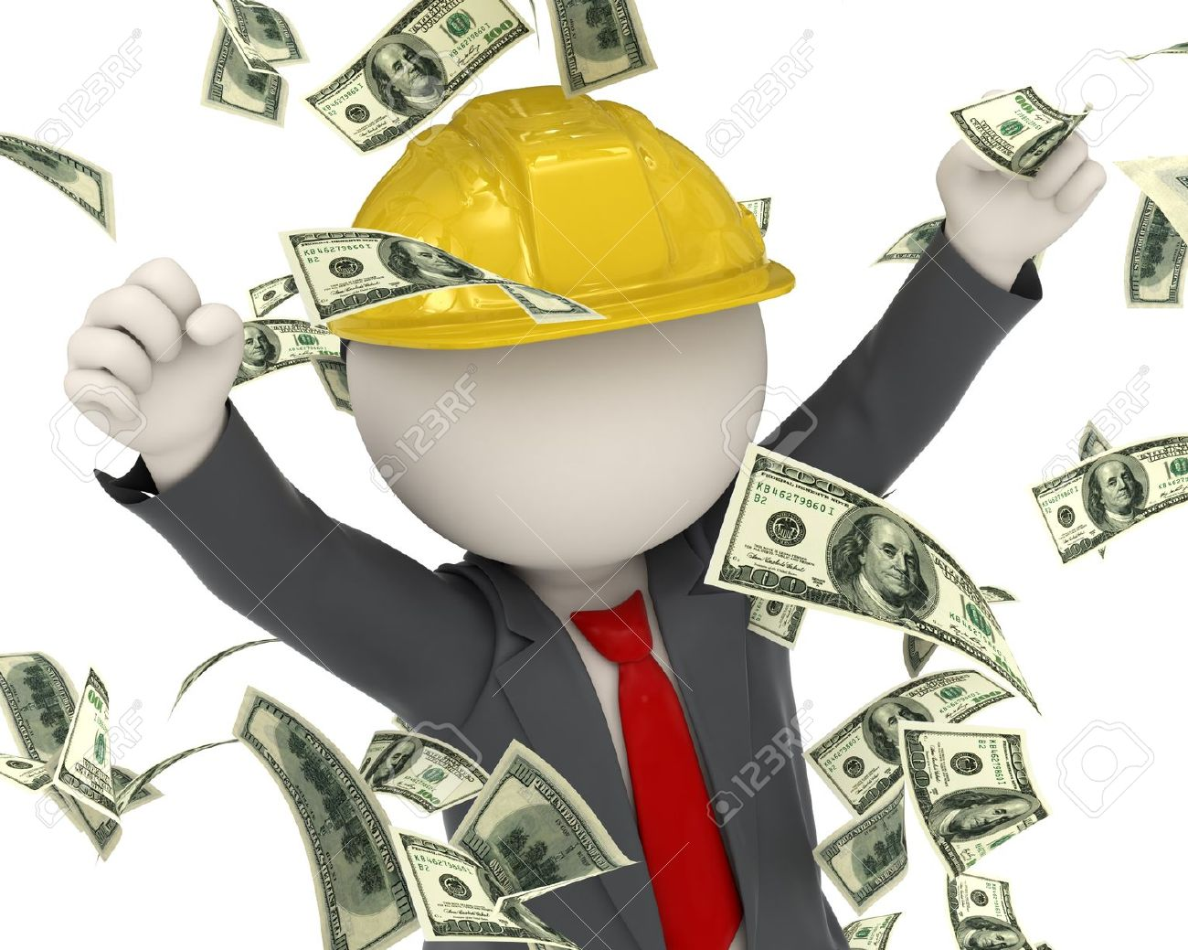 3d rendered construction worker jumping for joy among money rain Stock Photo - 16723481