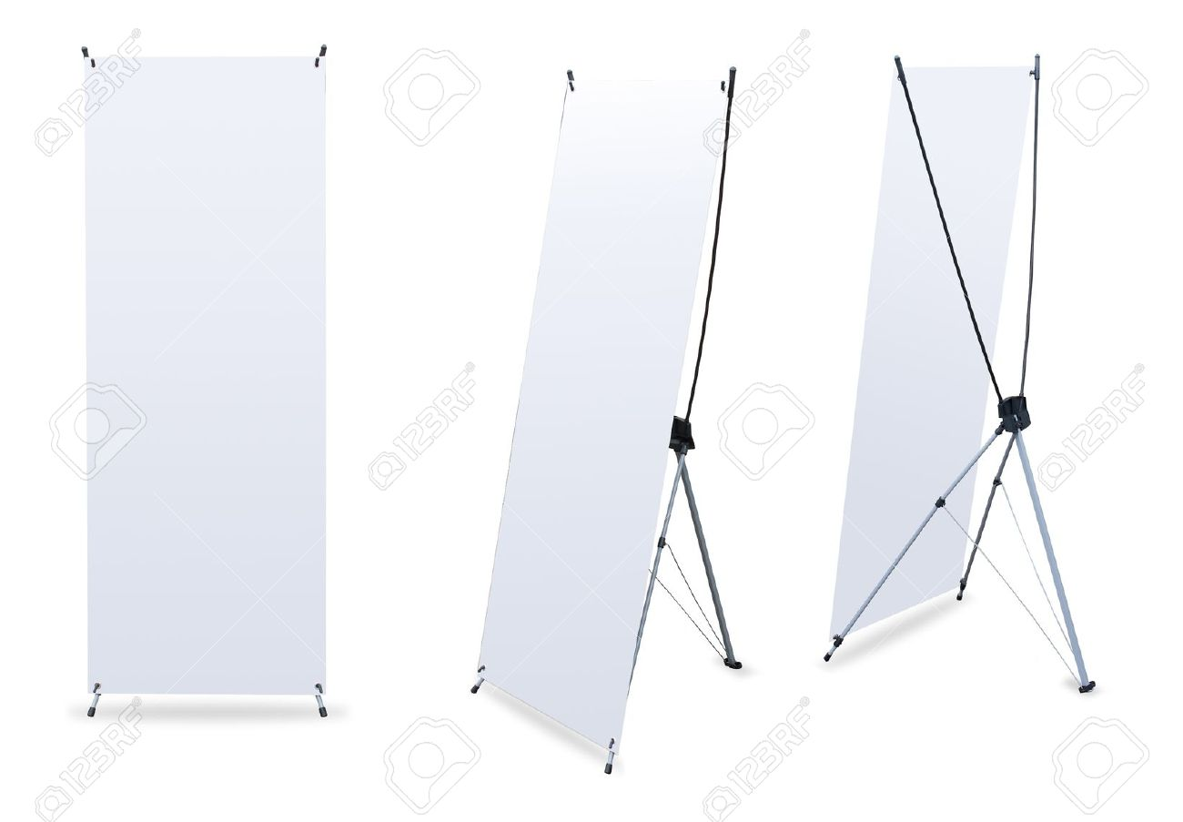 blank banner stand display 3 view template for design work stock