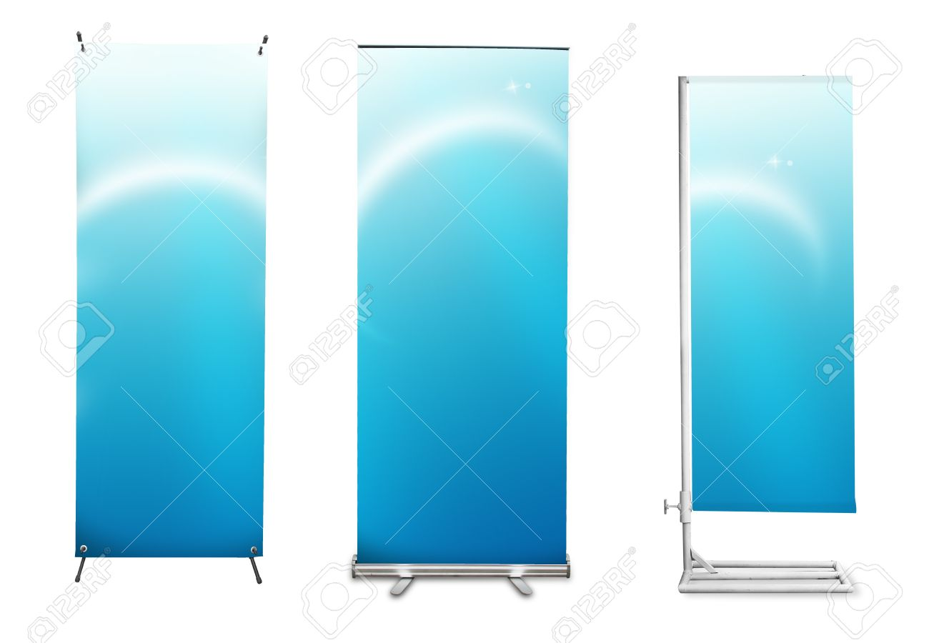 Set of banner stand display with blue identity background ready for use (Save path for design work) Stock Photo - 11997801