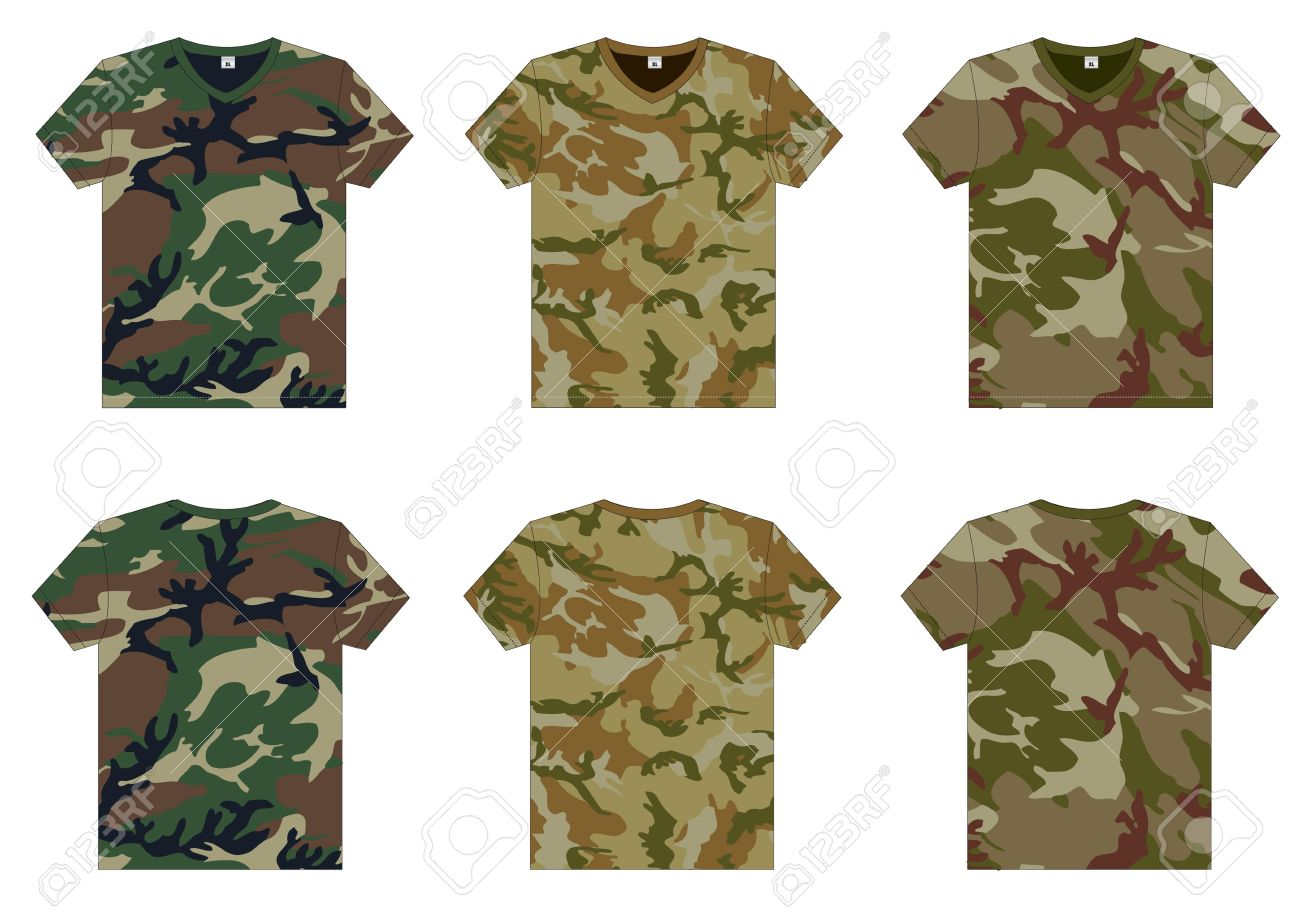 Men S Military T-Shirts V-neck Front And Back View Vector Template ...