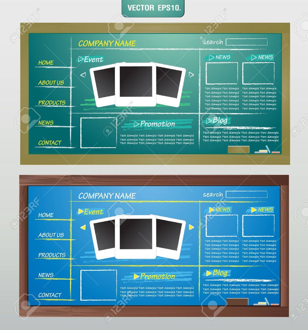 Website Template Design On Blackboard Vector Template For Design ...