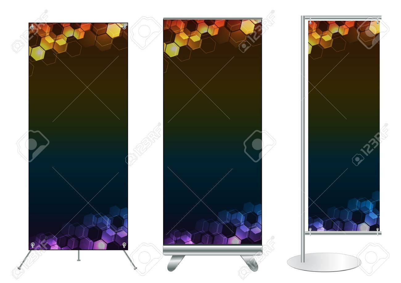 Set of banner stand display with identity background ready for use  Vector template for design work Stock Vector - 12867049