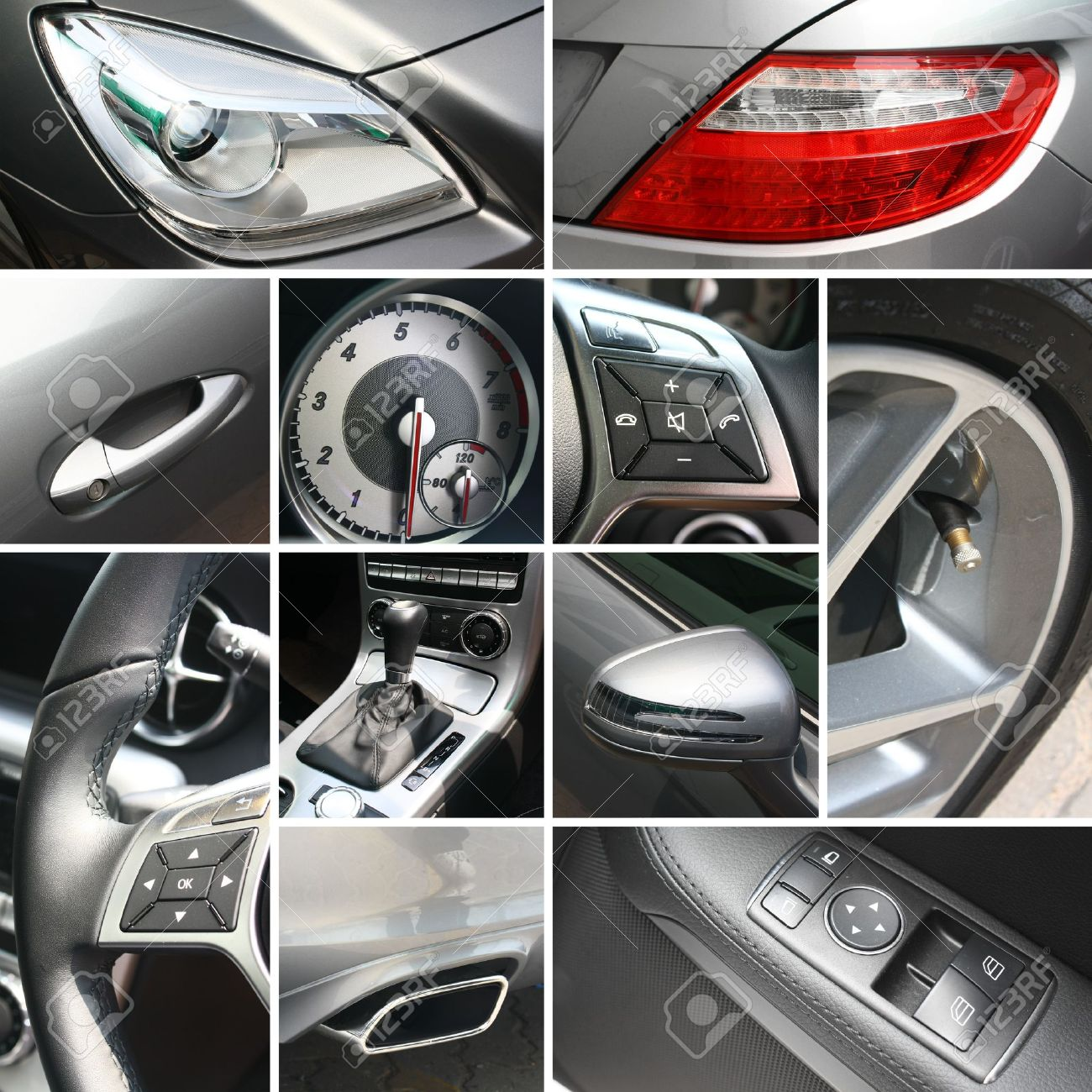 Luxury car details collage Stock Photo - 12867023