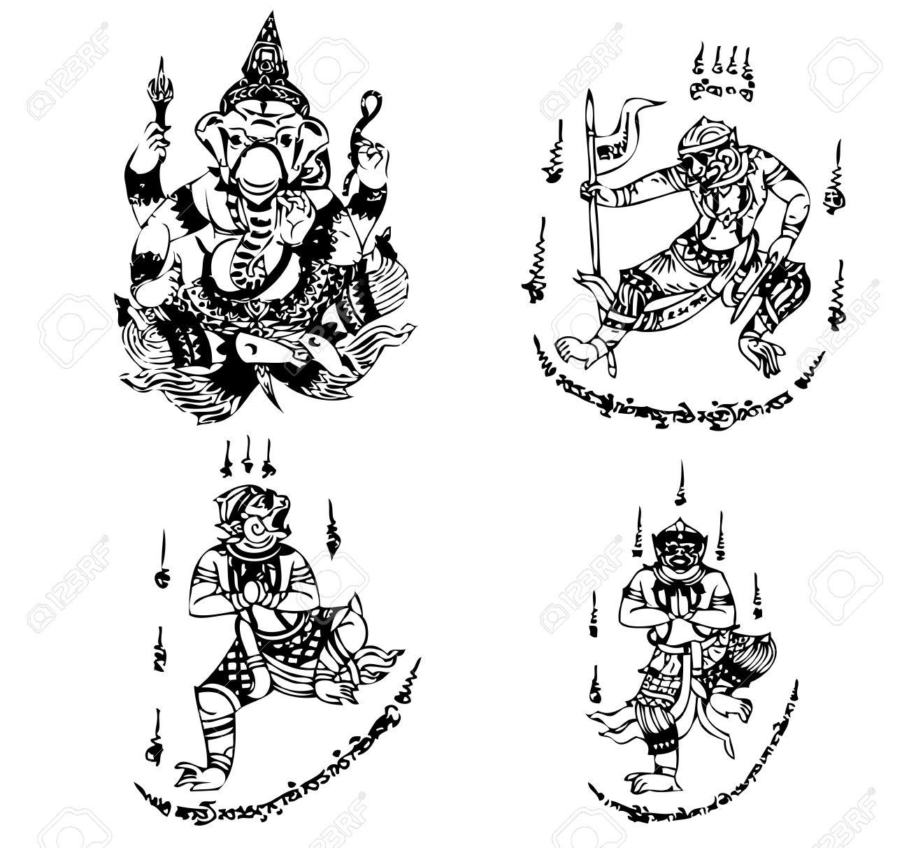 Thai Tattoo Ancient Vector Template Royalty Free Cliparts Vectors