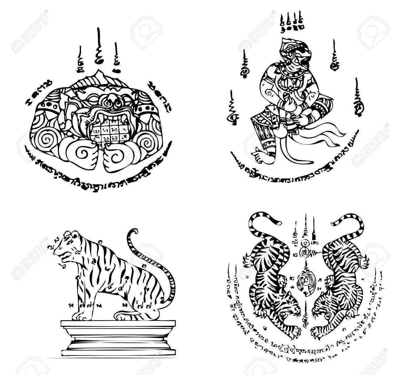 Thai Tattoo Ancient Vector Template