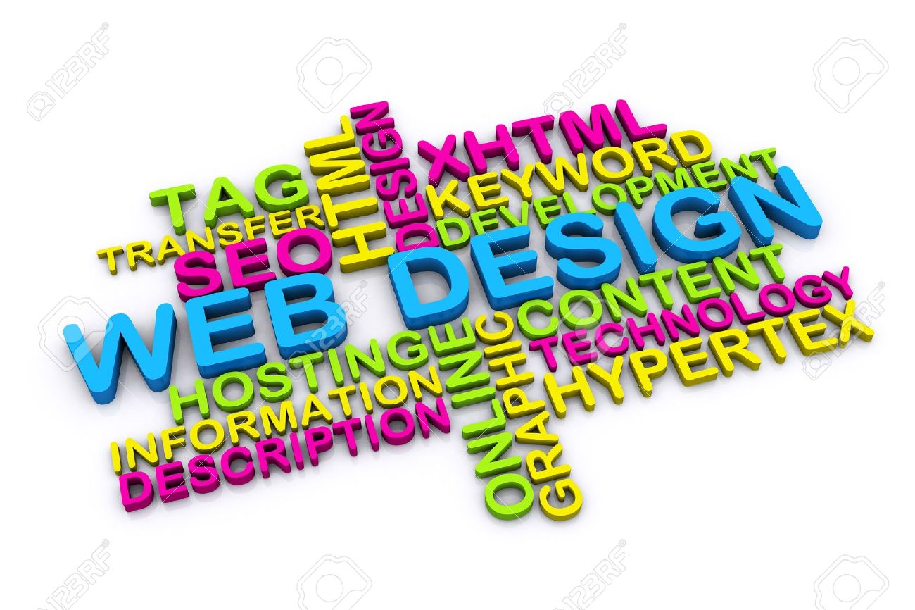 3d Web Design Concept And Other Related Words Isolated On White ...