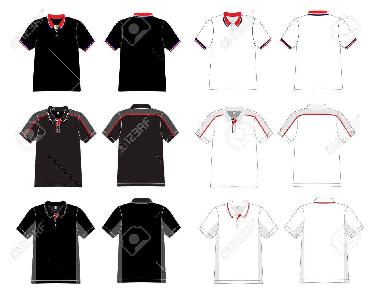 Vector Men S Black And White Polo Shirt Template Royalty Free