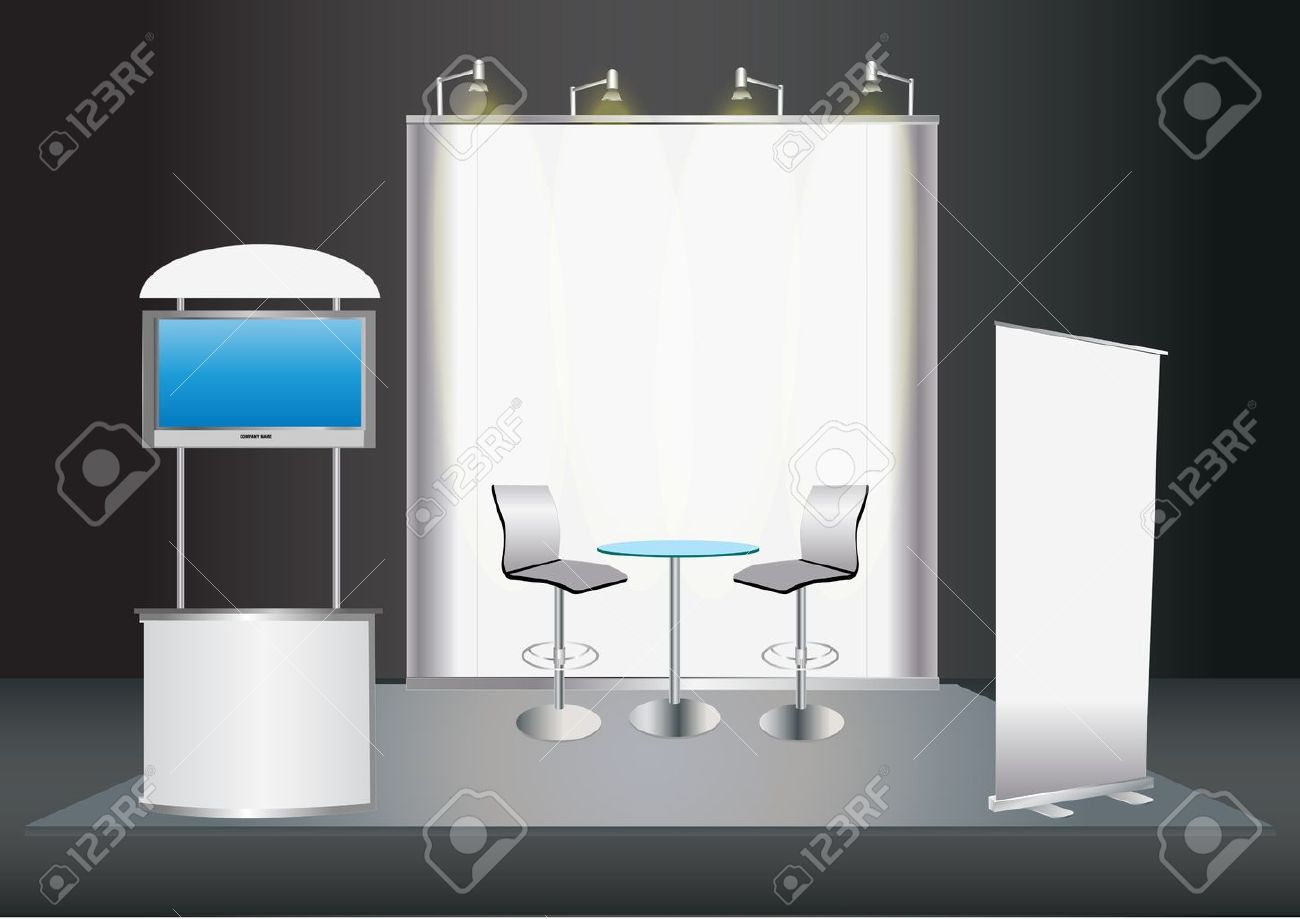 Exhibition Stand Roll Up : Vector blank trade exhibition stand with screen counter seats
