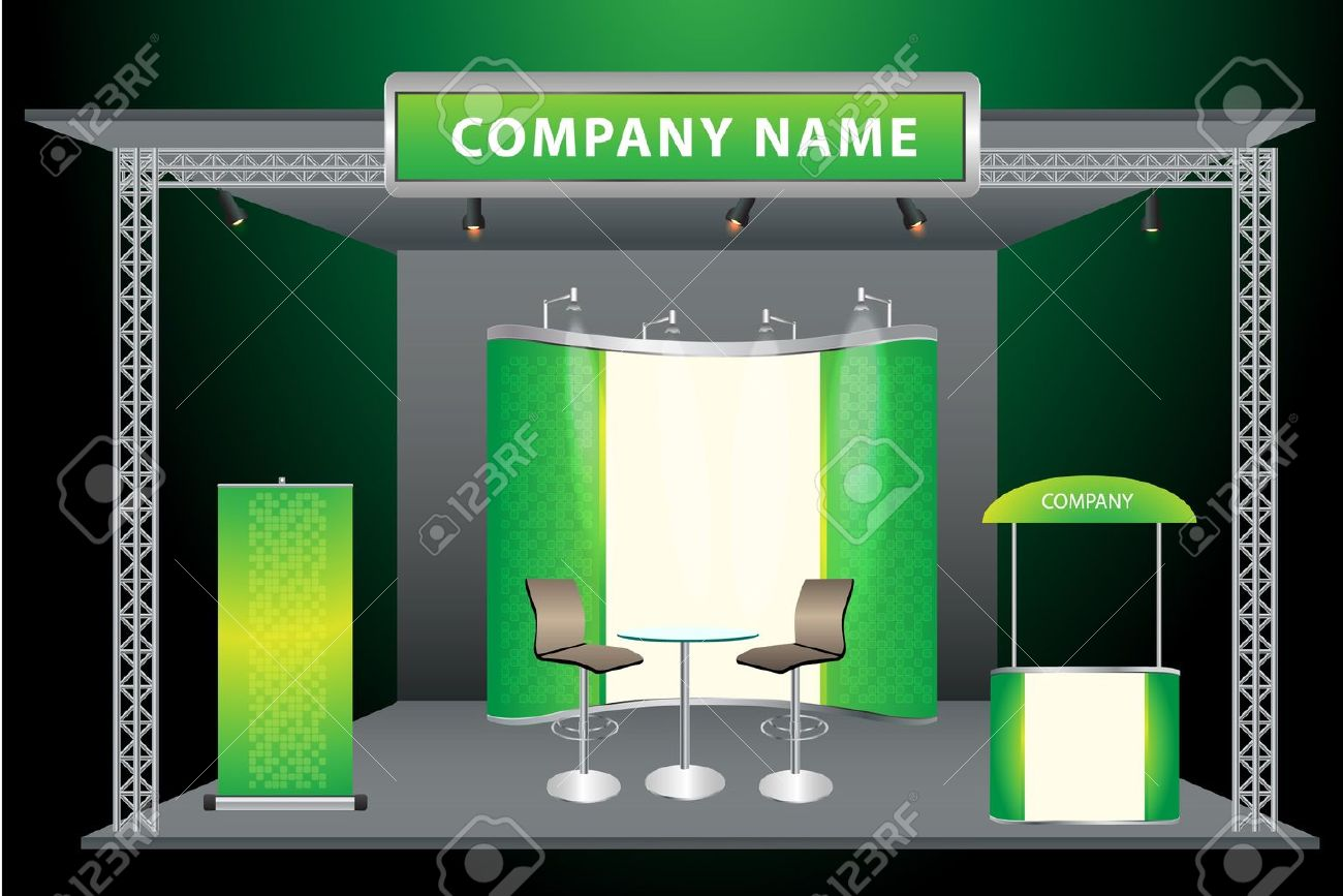 Vector Blank trade exhibition stand with widescreen lcd monitor, counter, chair, roll-up banner and lights with identity background ready for use Stock Vector - 13077055