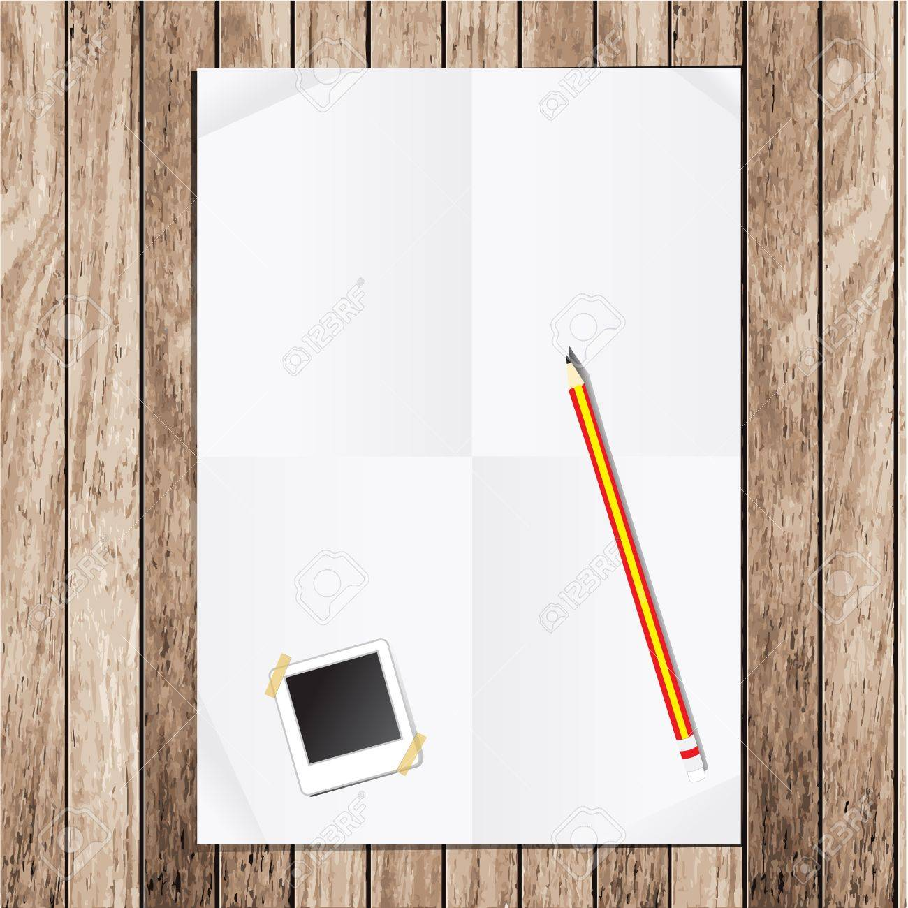 Empty white Crumpled paper With Pencils and picture frames on wood table Stock Vector - 13214171
