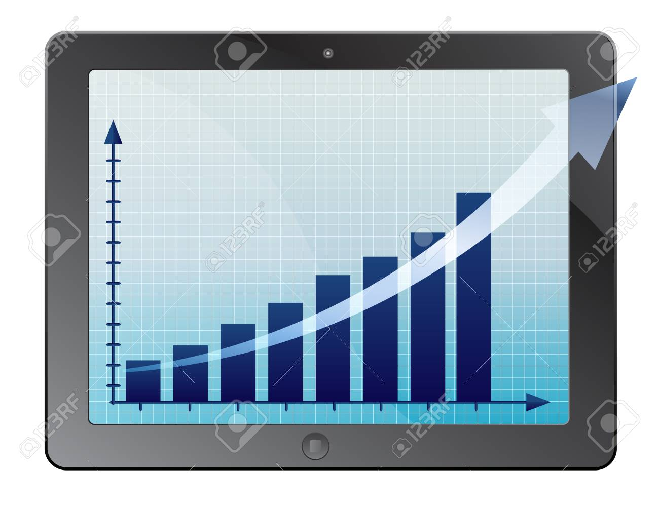 illustration of classy tablet PC with graph growth business concept Stock Vector - 13949955