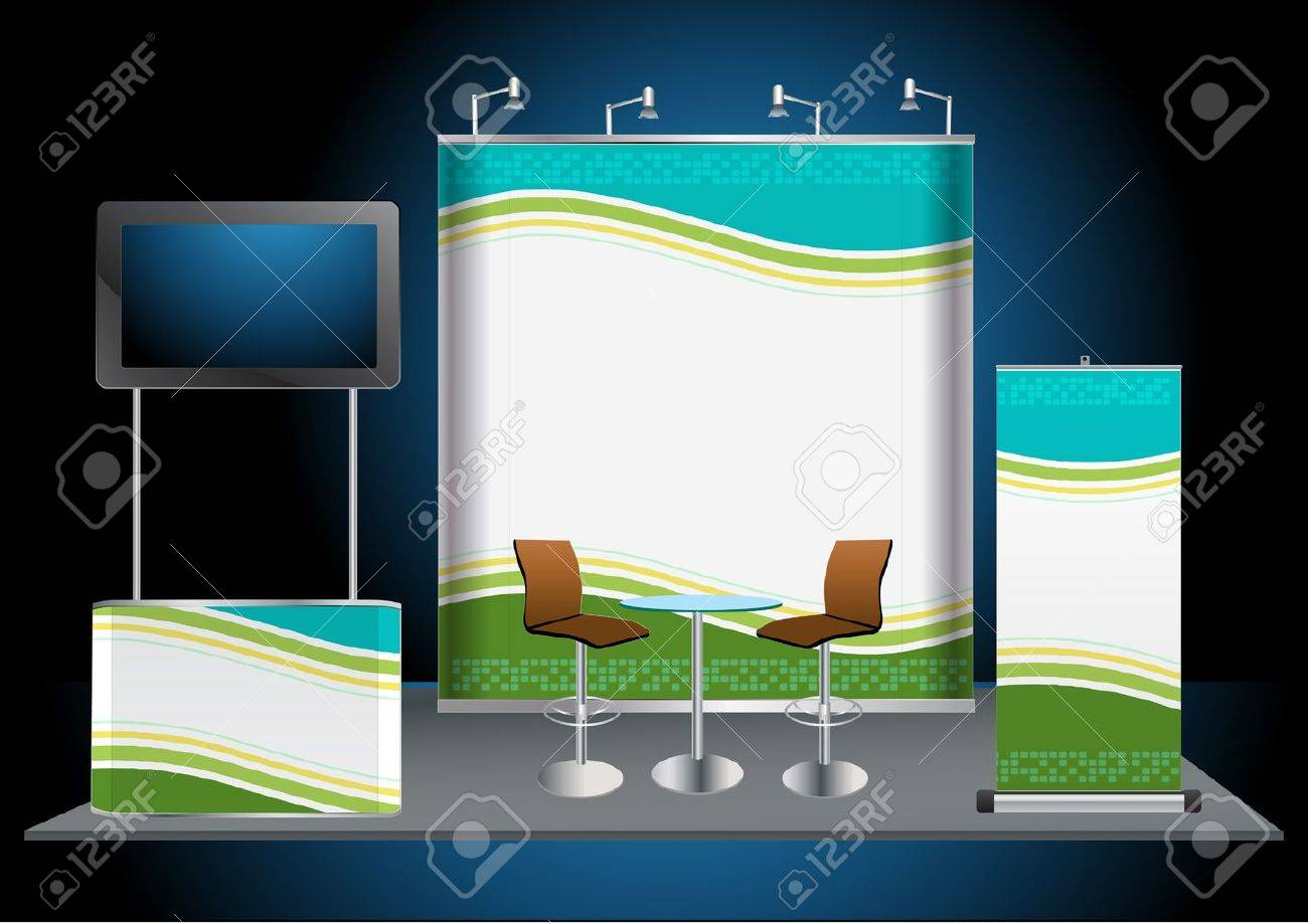 Exhibition Stand Banner : Vector blank trade exhibition stand with widescreen lcd monitor