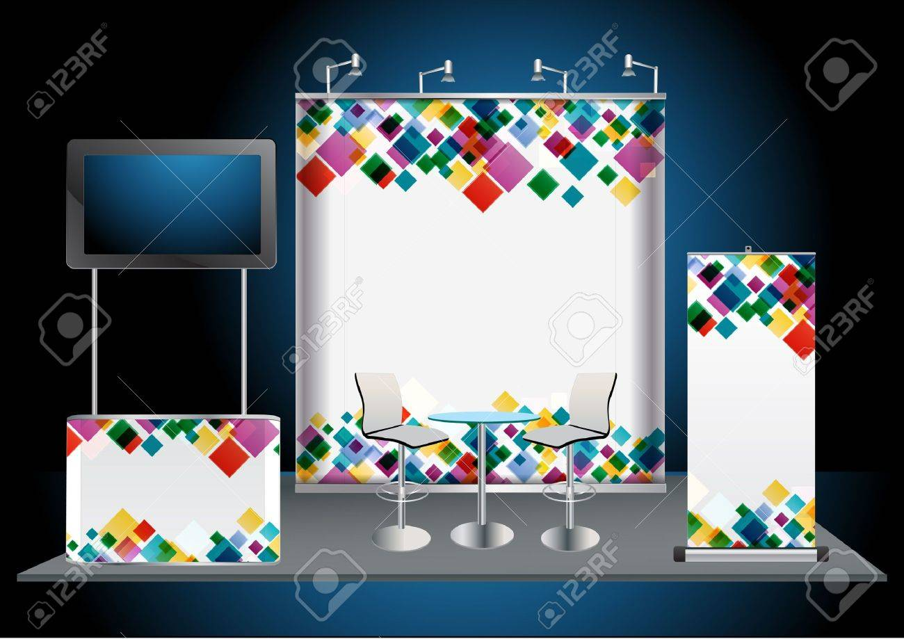 Blank trade exhibition stand with widescreen lcd monitor, counter, chair, roll-up banner and lights with identity background ready for use - 14055678
