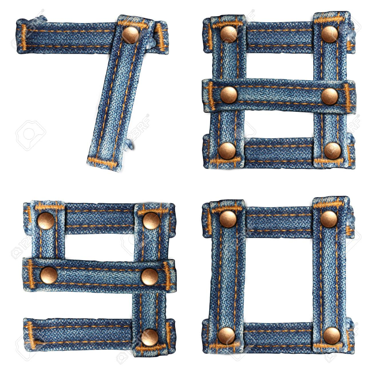 letter number of jeans alphabet on white background - 14301875