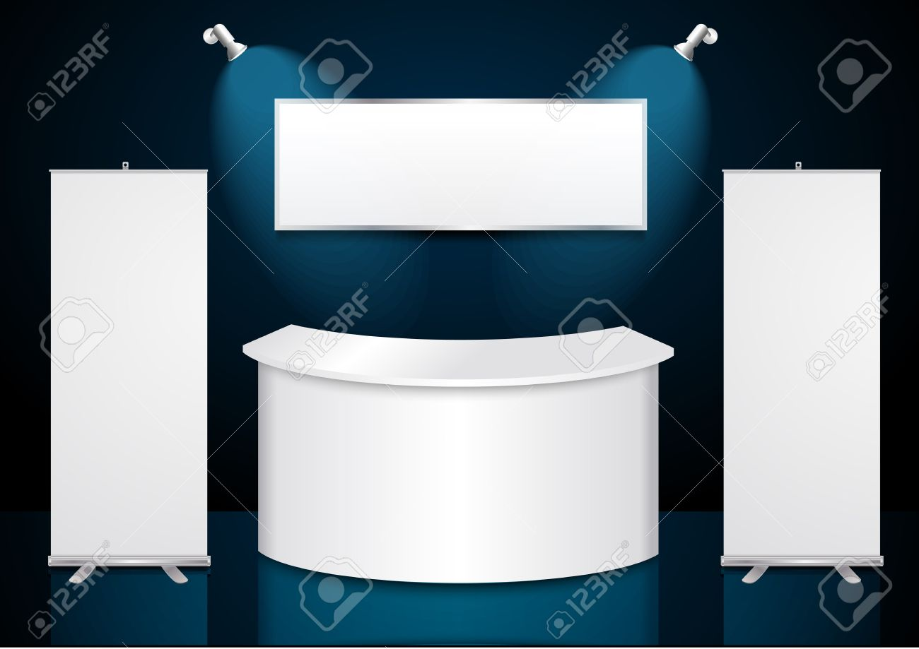 Exhibition Stand Banner : Reception exhibition counter with roll up banner stand royalty