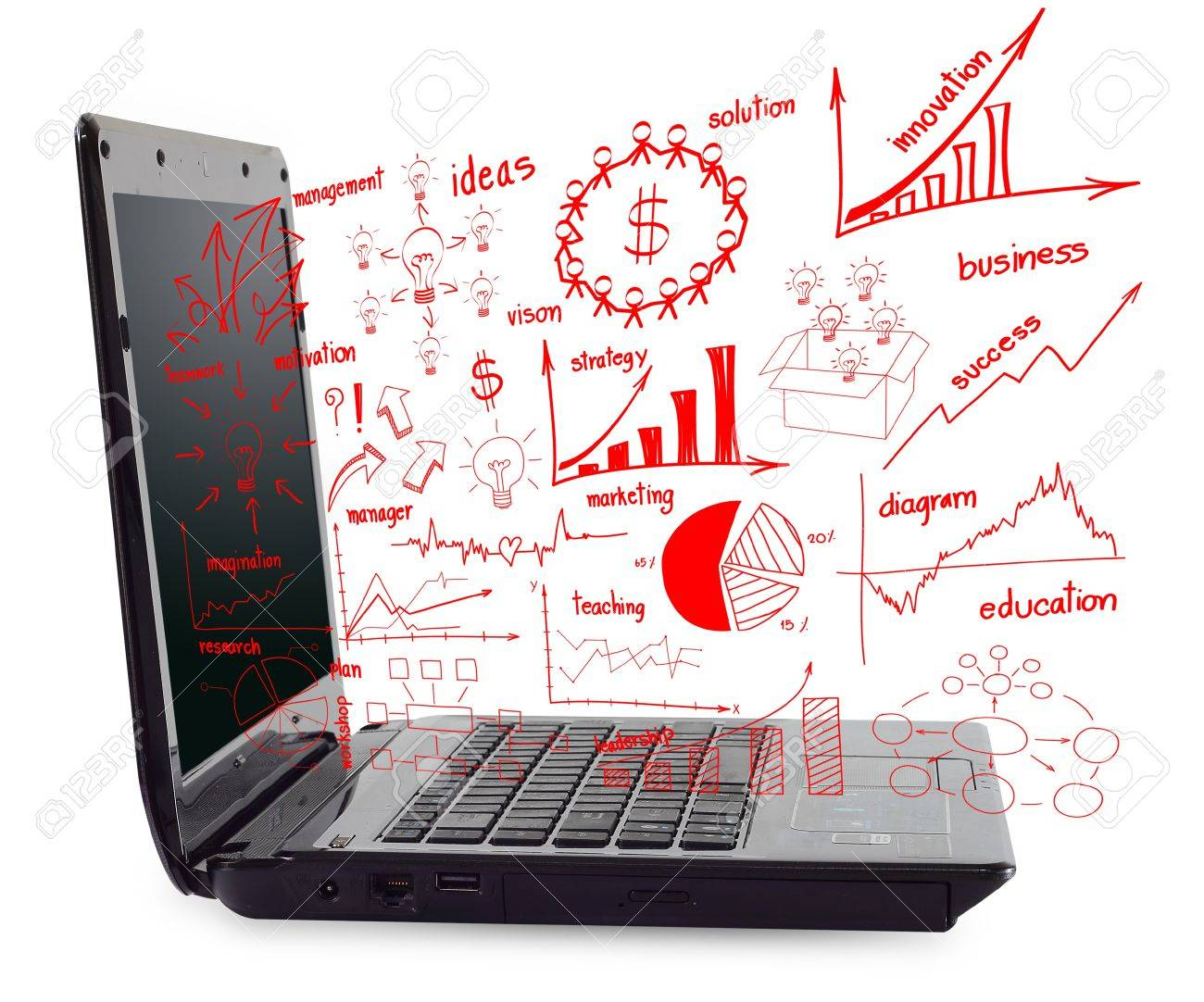 laptop computer pc with drawing business plan concept diagrams stock photo,  picture and royalty free image. image 15856506.  123rf.com