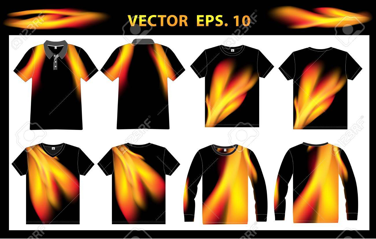 Design shirt v neck - Vector Vector Shirt Polo Vest V Neck And Long Sleeves With Identity Template Abstract Fire Background Design