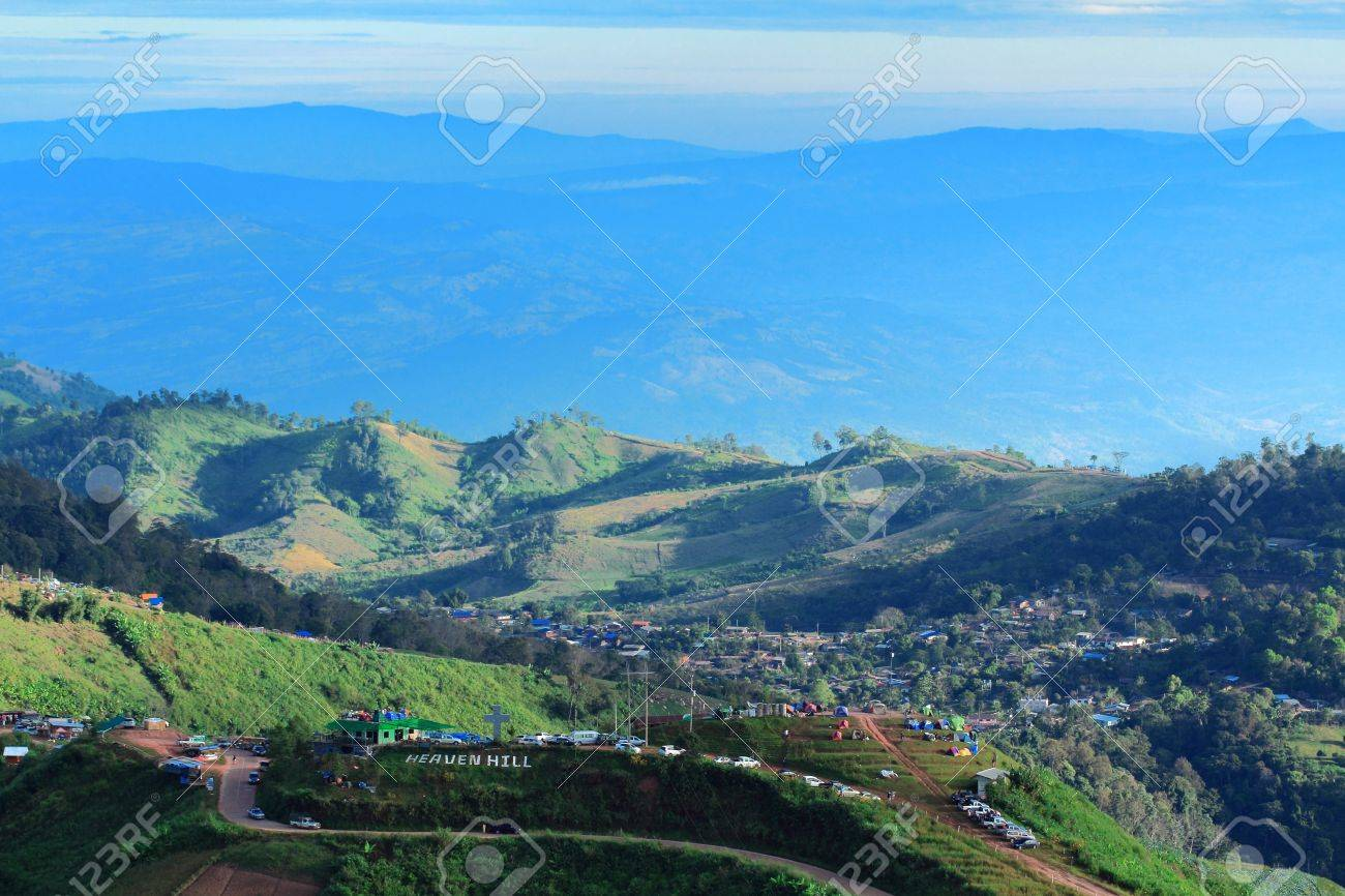 Mountain With cloud blue sky landscape at phuthapboek in petchaboon city Thailand Stock Photo - 16740760