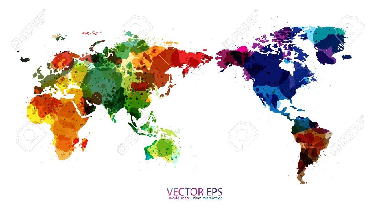 World Map Watercolor, Vector illustration Stock Vector - 16740754