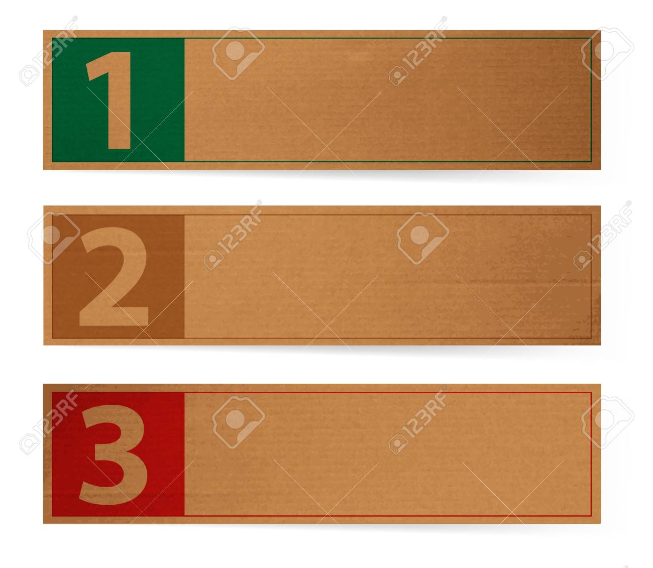 Three abstract vintage old paper banners / stickers / badges with print decorations, one two three steps Stock Vector - 16986538