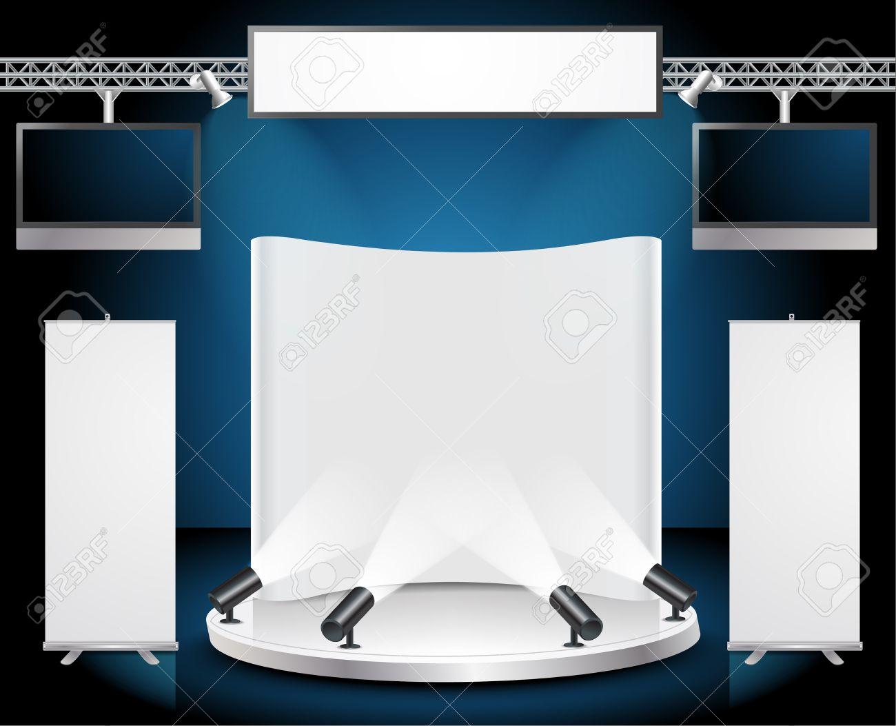 Exhibition Stand Roll Up : Vector blank trade exhibition stand with tv widescreen lcd monitor