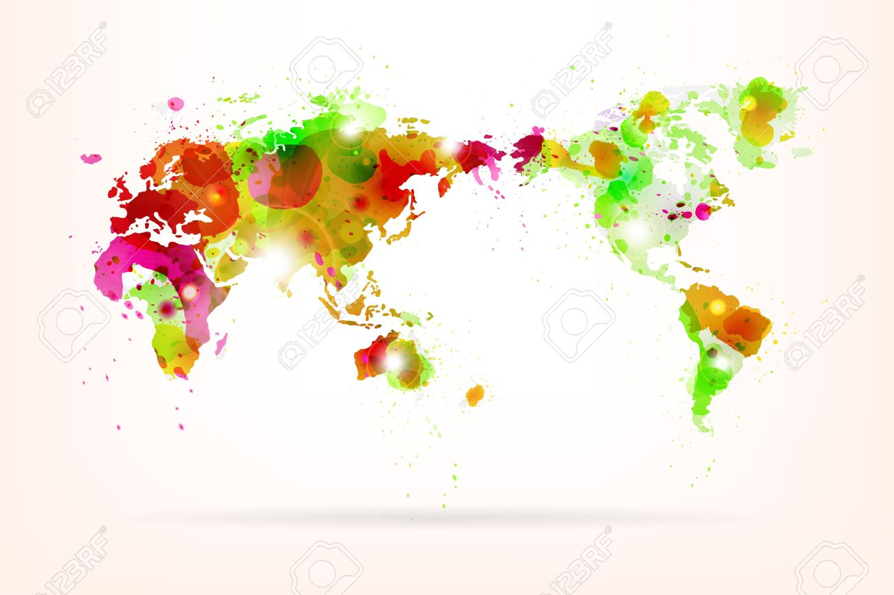 Vector world map creative with splash of color and light effects vector vector world map creative with splash of color and light effects gumiabroncs Images