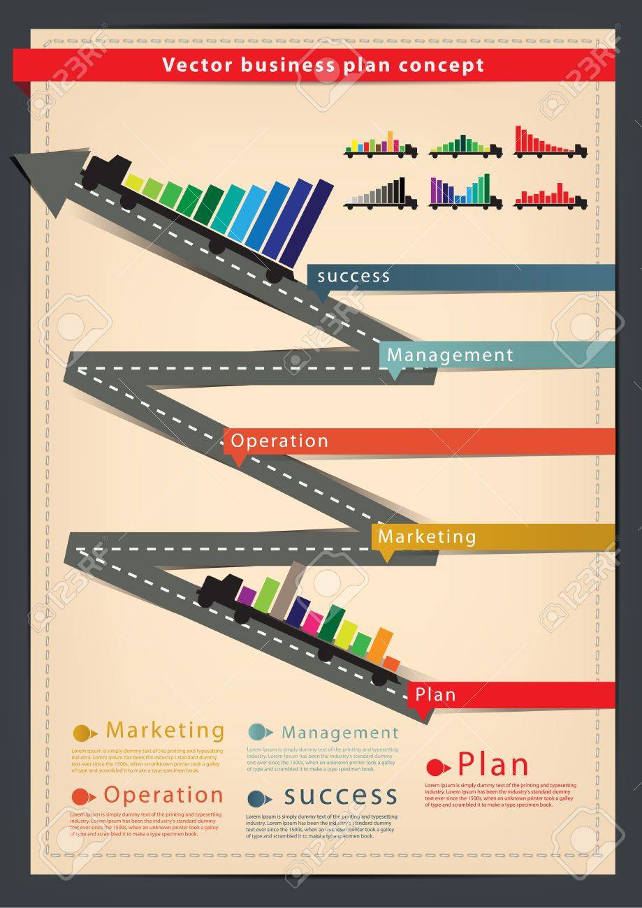 Diagram Business Plan Concept With Truck, Modern Design Template ...
