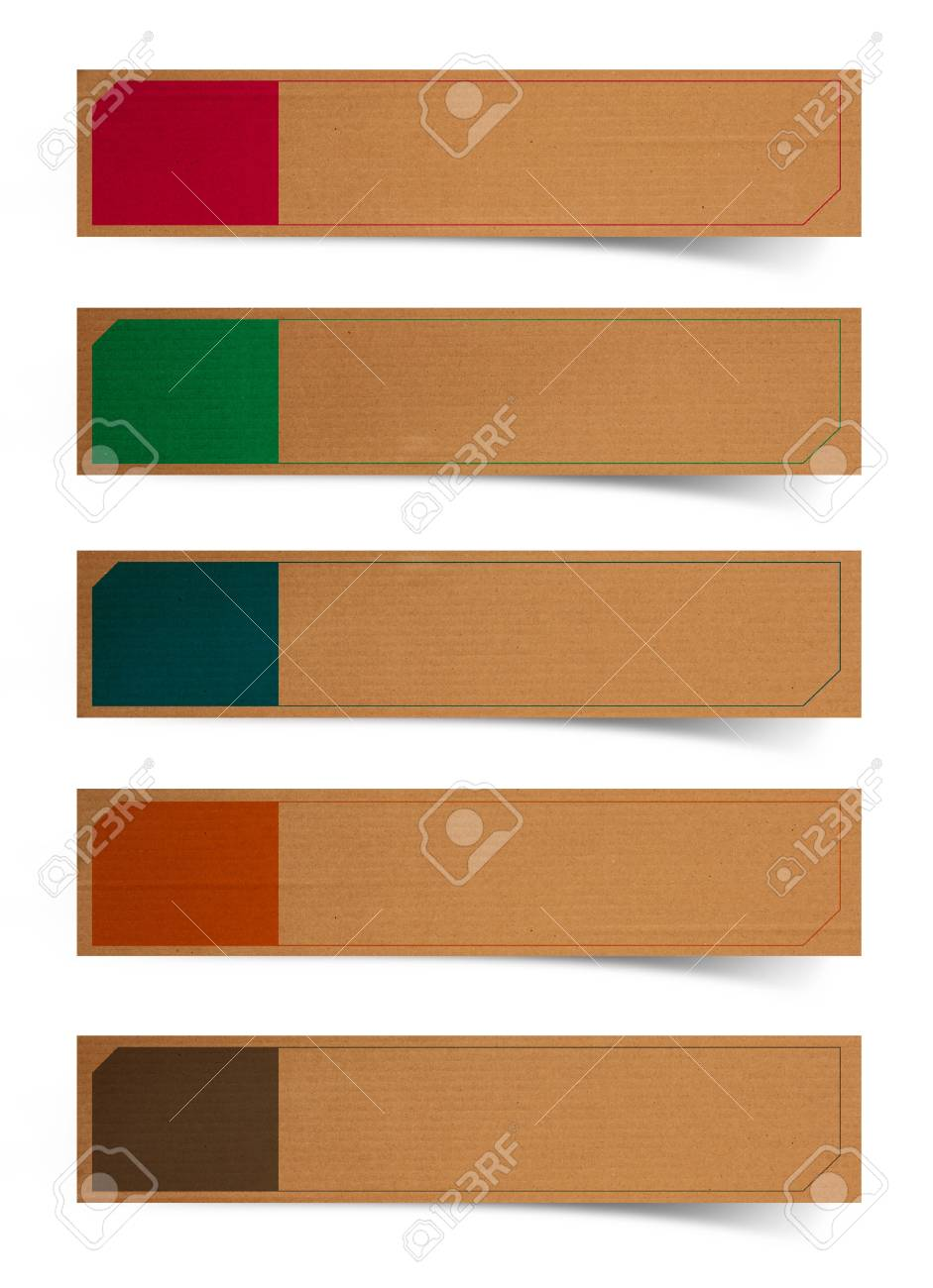 Cardboard paper banners / stickers / badges with print decorations, isolated on white background (Save Paths For design work) Stock Photo - 17618269