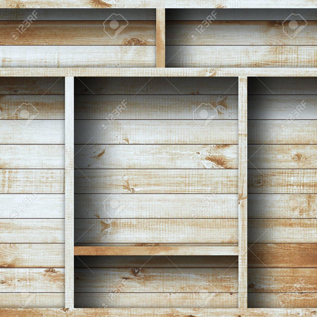 Empty wood shelf grunge industrial interior Uneven diffuse lighting