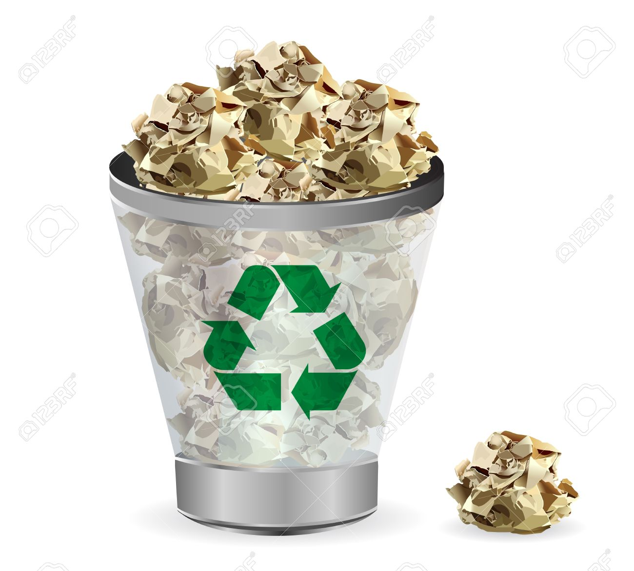 Trashcan paper recycle, illustration - 17934649