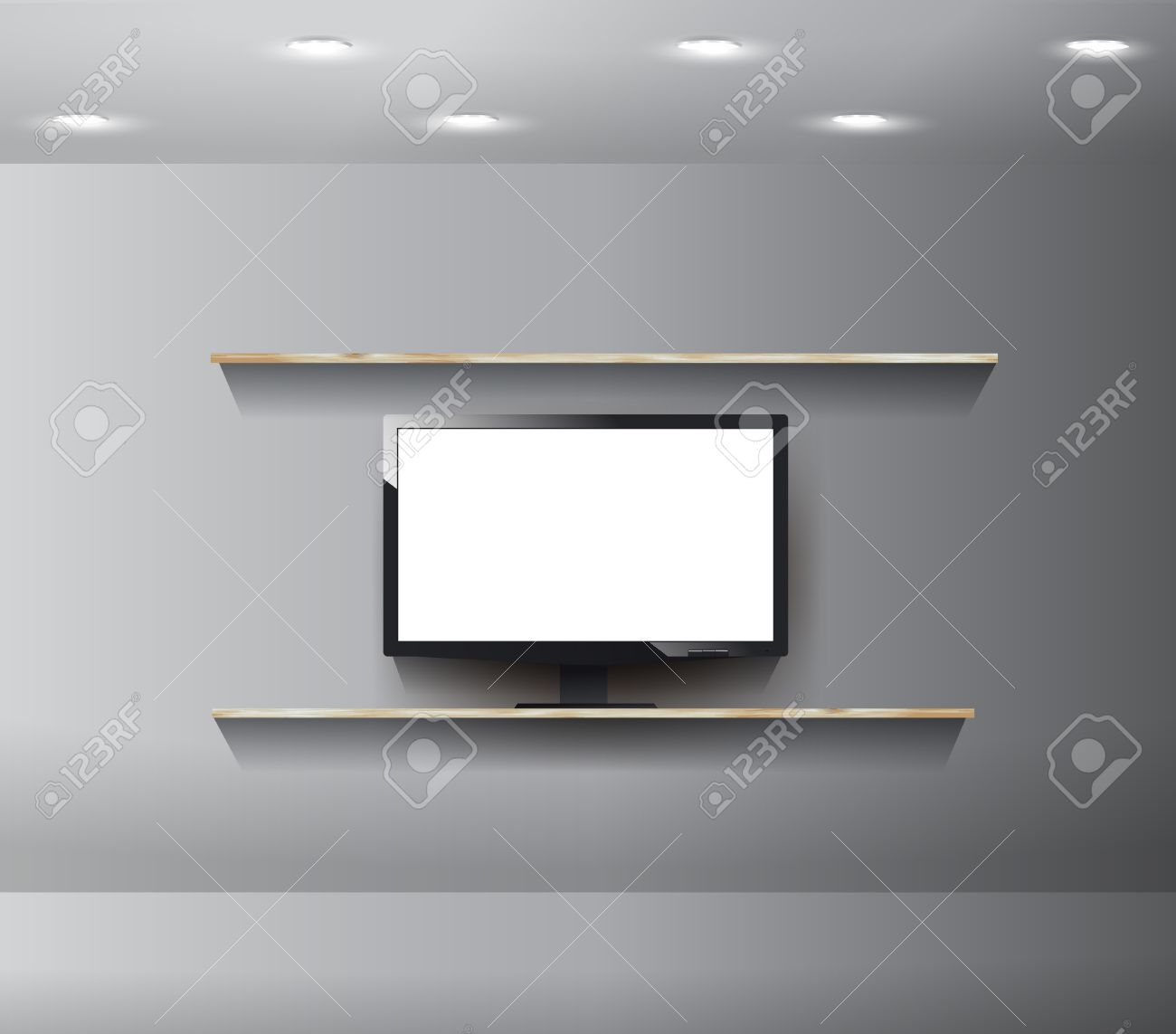 TV Sur Le Mur Dans La Salle Moderne, Avec Un Design étagère En Bois ...