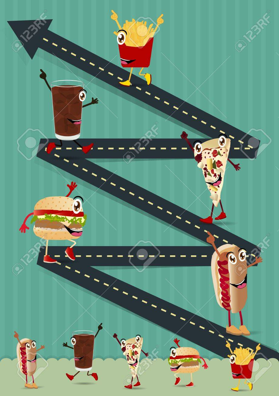 Creative Template with fast food funny cartoon character concept  Road going up as an arrow, vector illustration design Stock Vector - 18092802