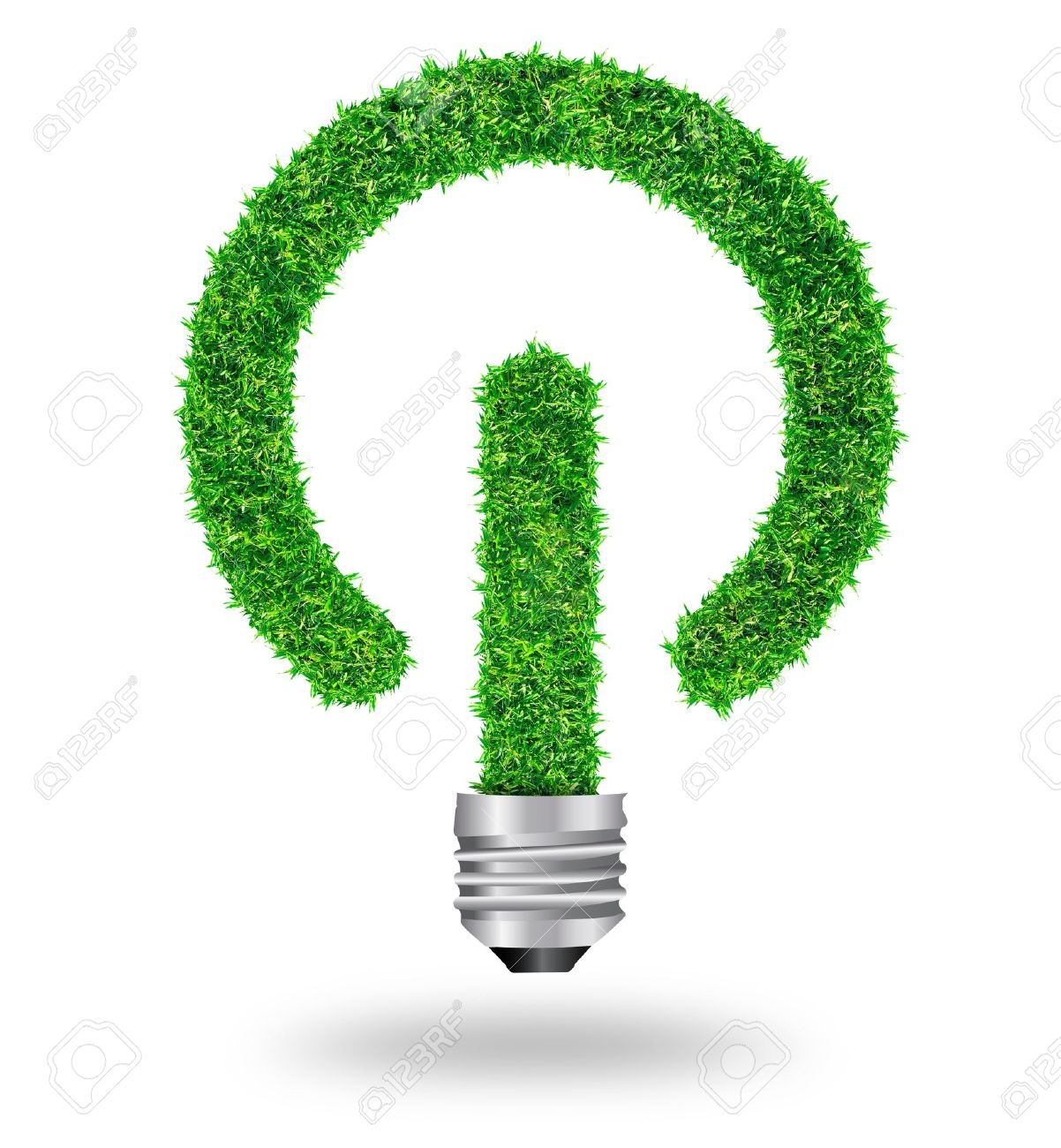green grass bulb as symbol of sustainable energy and nature protection, isolated on white background With Save Paths for design work Stock Photo - 18153783