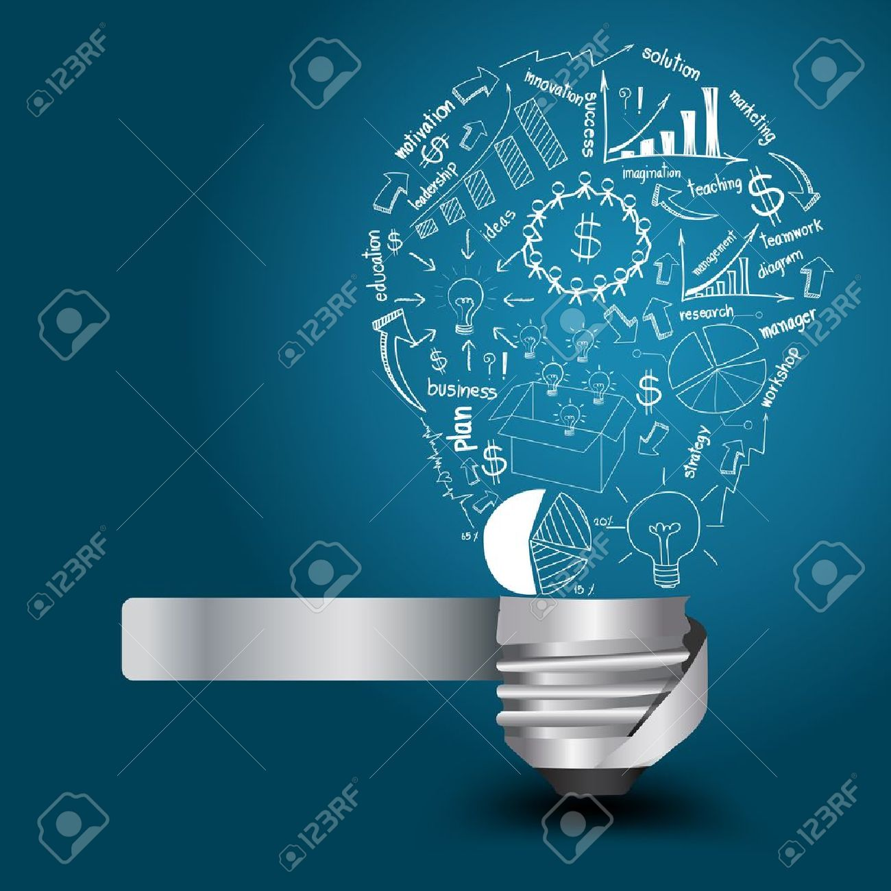 Creative light bulb with drawing business strategy plan concept idea, Vector illustration Modern template Design - 18309284