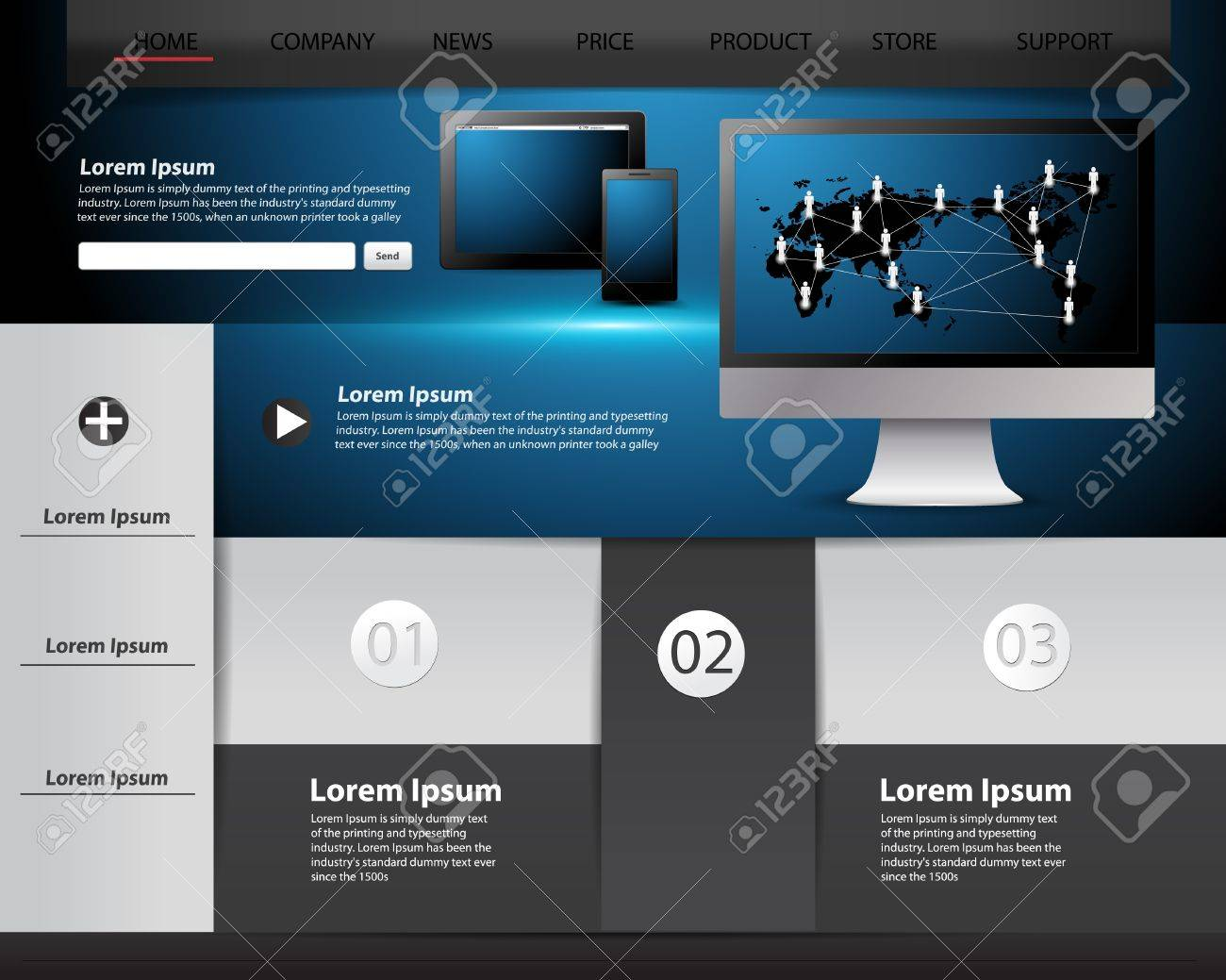 Modern website template design, infographics and Information technology concept Stock Vector - 18383819
