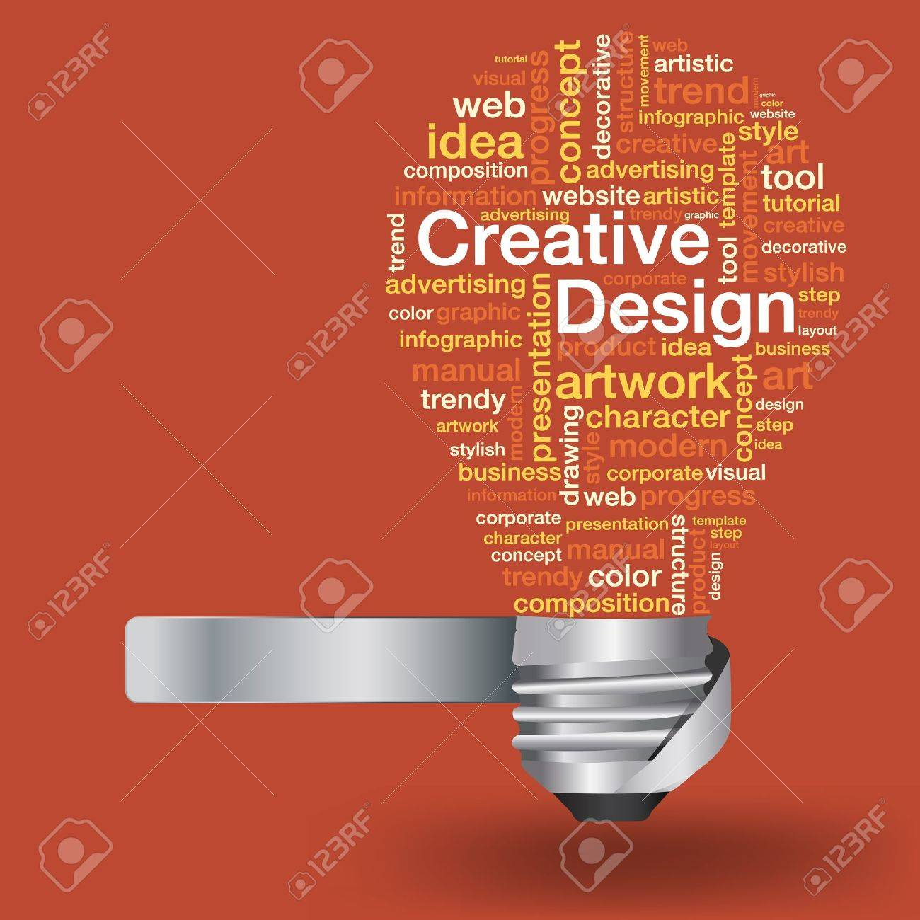 Creative light bulb with creative design concept of word cloud, Vector illustration modern template design - 18809604