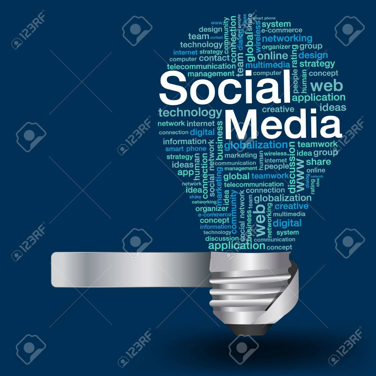 Creative Light Bulb With Social Media Concept Of Word Cloud ...