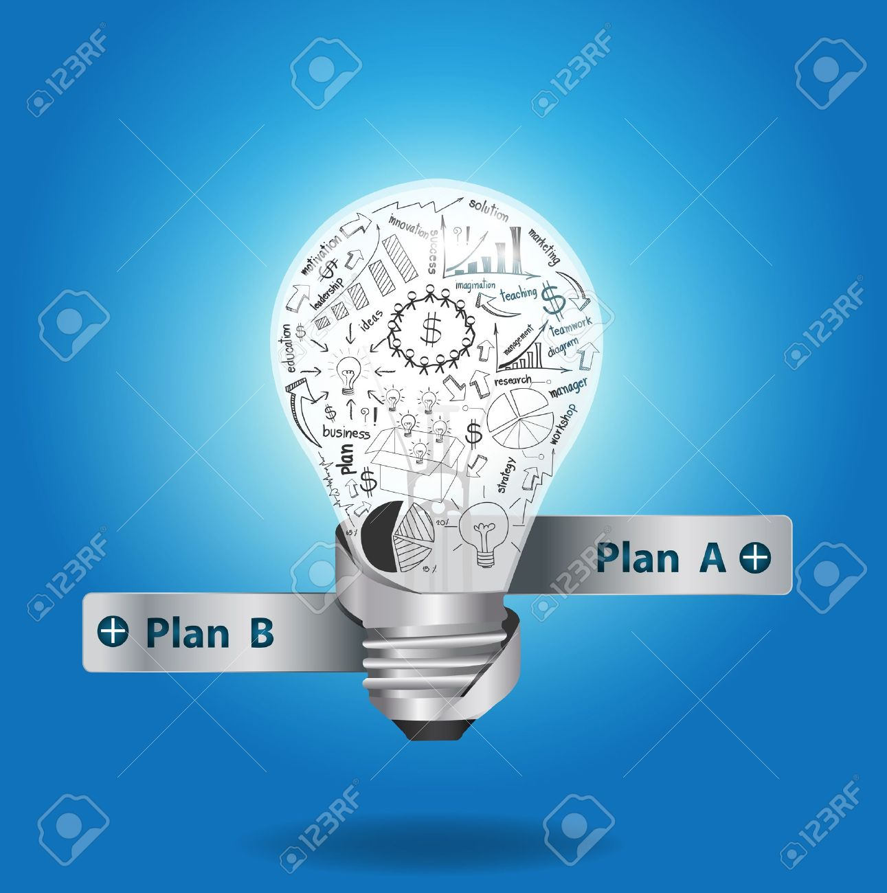 Light bulb with drawing graphs and charts inside, Creative business plan strategy concept idea. Stock Vector - 19152082