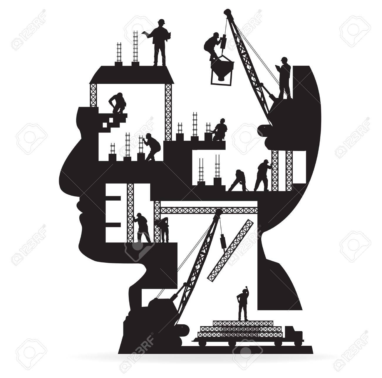 Building under construction with workers in sIlhouette of a head, Vector illustration template design - 19714782