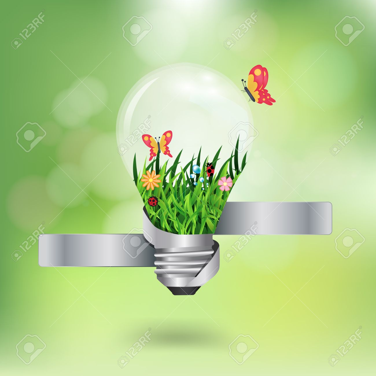 light bulb with beautiful flower inside with green bokeh abstract light background, Vector illustration template design Stock Vector - 19714796