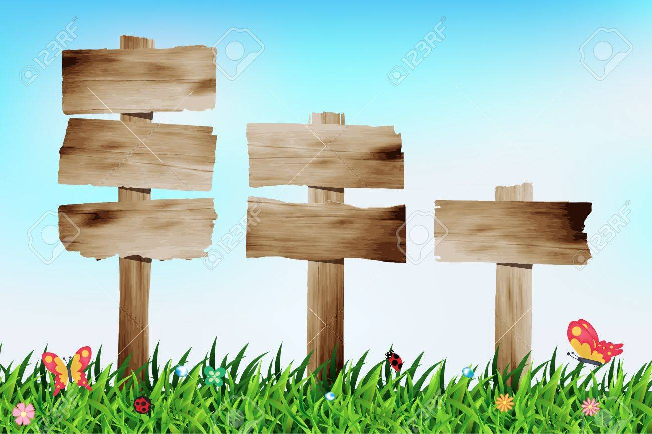 Wooden Signboard With Grass Field, Vector Illustration Template ...