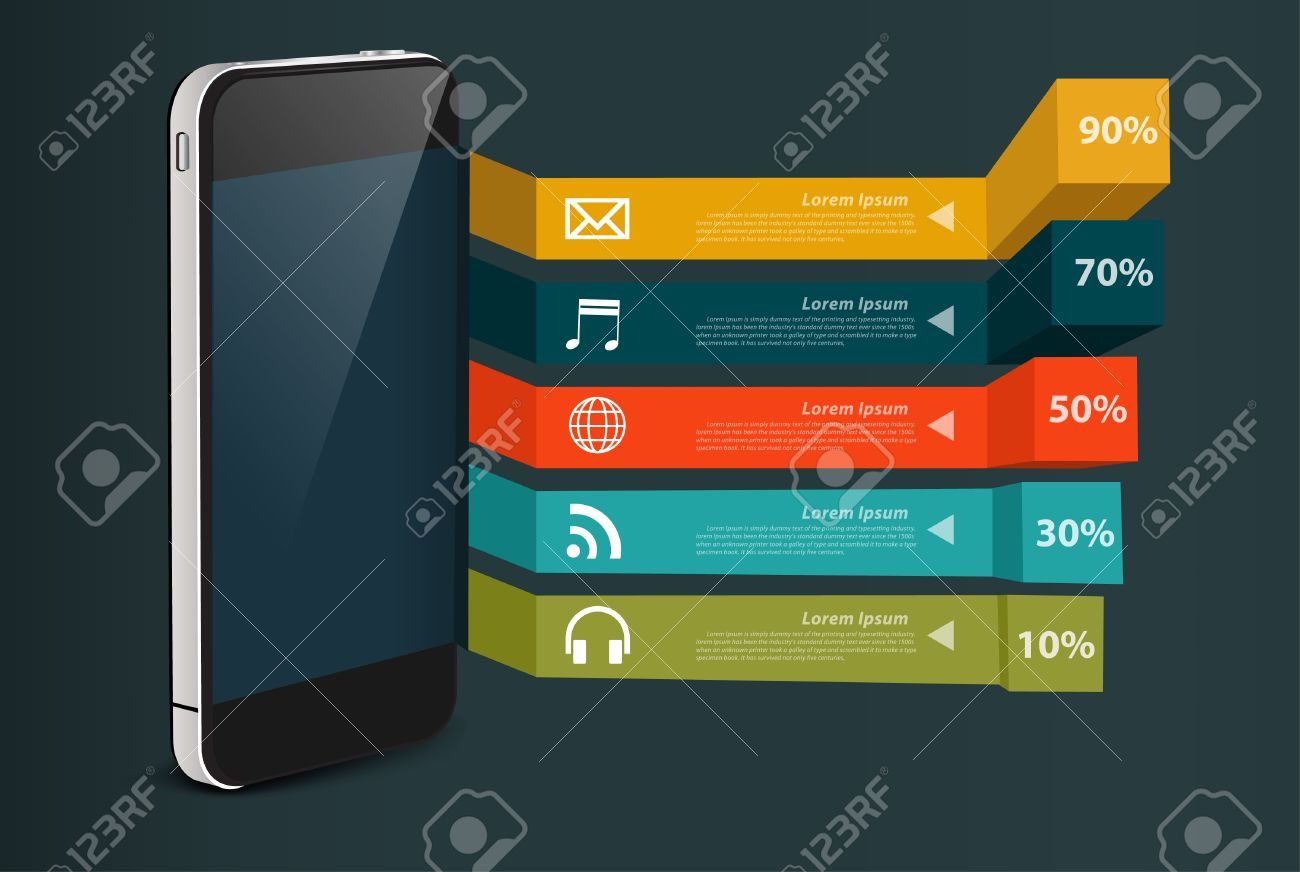 Mobile phone, With business software and social media application icon and minimal infographics modern charts and graphs banner Stock Vector - 19957760