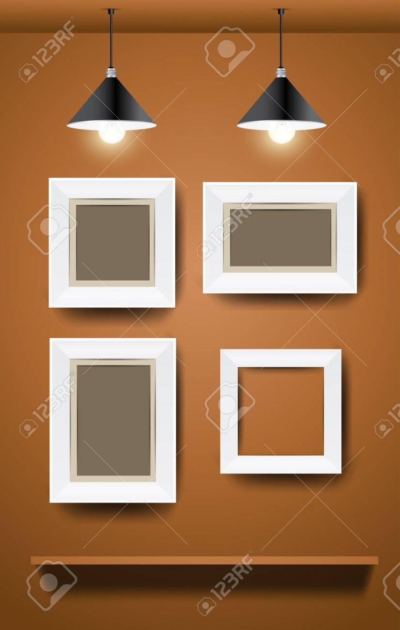 Marcos Blancos Modernos En La Pared Ilustracion Vectorial - Marcos-para-fotos-modernos