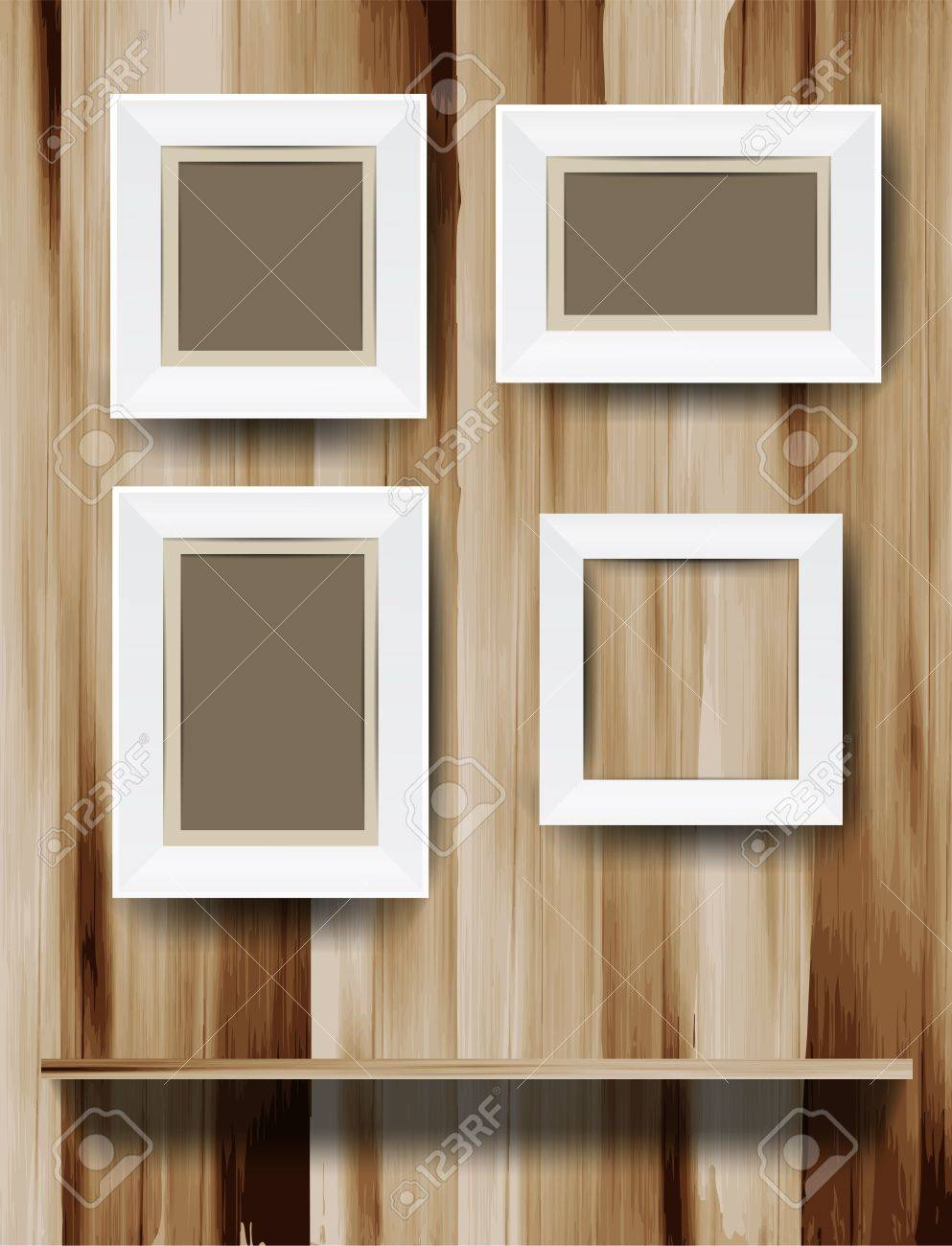 white modern frames on wood wall vector illustration royalty free  - white modern frames on wood wall vector illustration stock vector