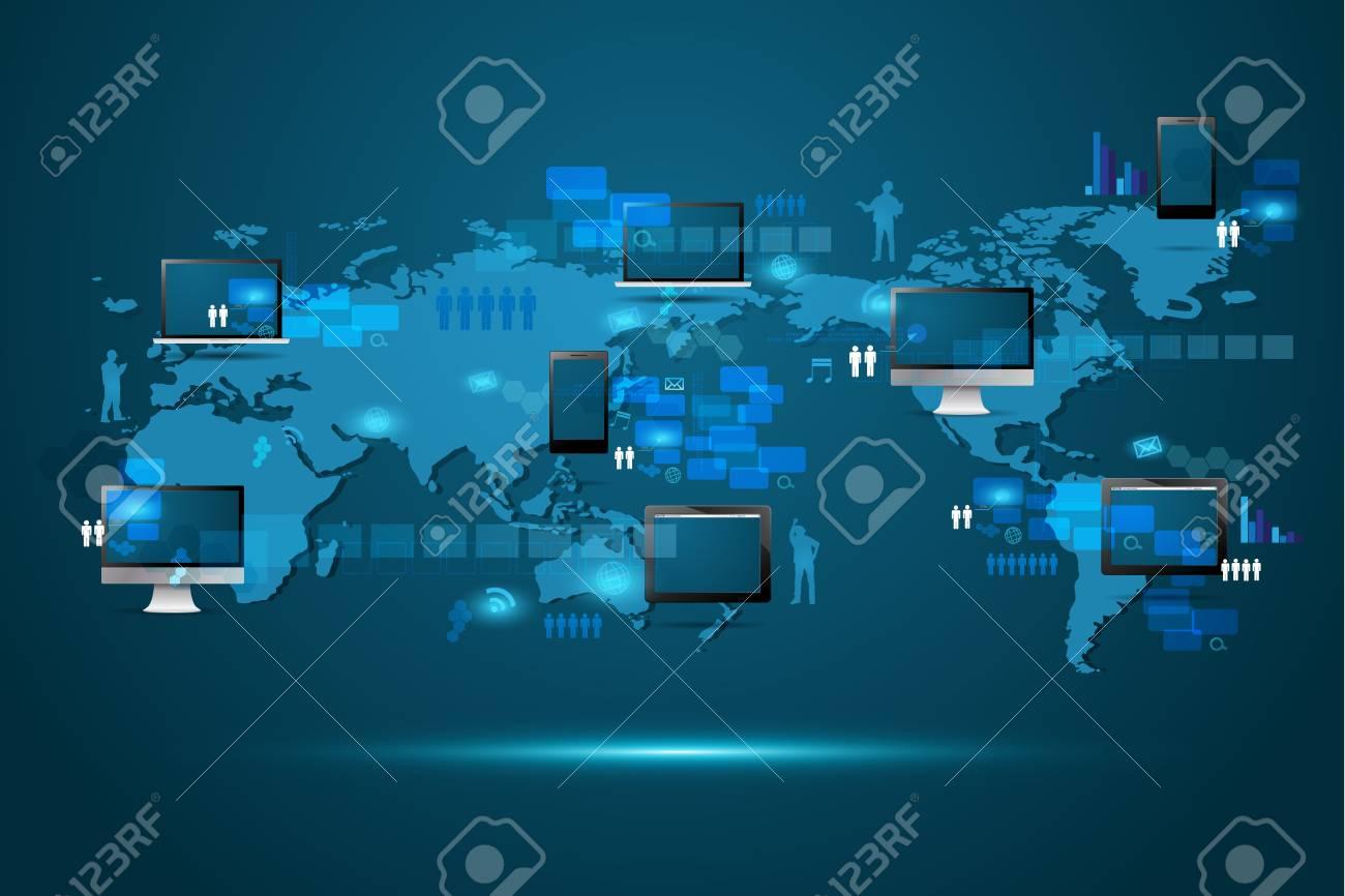 Modern global business technology concept Stock Vector - 19878380