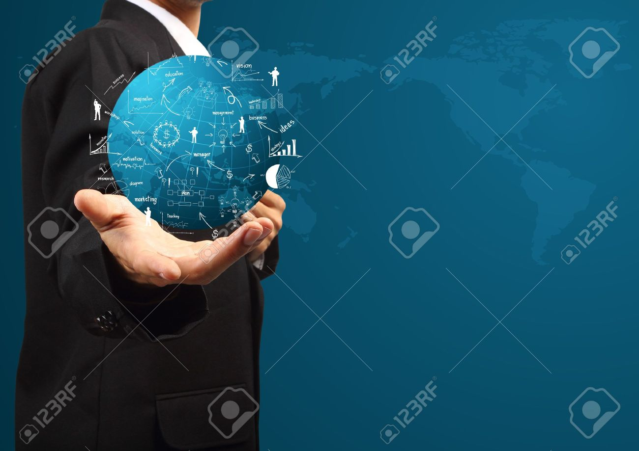 Global business plan in hand of businessman, With creative drawing business strategy plan concept idea Stock Photo - 19957780