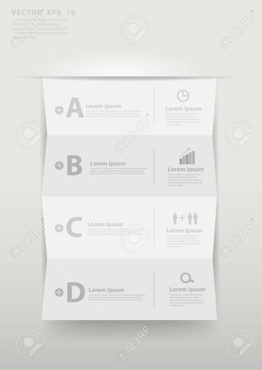 Modern business step folded paper style options banner Stock Vector - 19957808